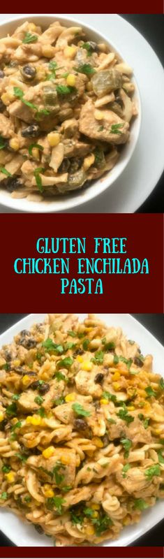 Cheesy, rich, and loaded with seasoned chicken and veggies, this gluten free chicken enchilada pasta is perfect comfort food weekend fare for the whole family. | http:asprinklingofcayenne.com