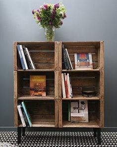 Com caixotes de madeira! Pinterest:  http://ift.tt/1Yn40ab http://ift.tt/1oztIs0 |Imagem não autoral|