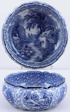 1920s 4in tall x 8.75in wide. Beautiful blue and white porcelain. Ye Old Foley Ware, Kent Ltd, Fenton England
