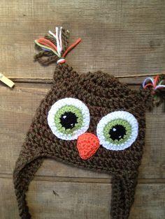 Owl Hat Owl Crochet Hat Crochet Beanie Child by thebluemagnolia, $20.00