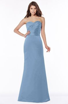 Faded Denim Modest A-line Sleeveless Half Backless Floor Length Ruching Bridesmaid Dresses