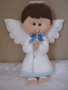 Com - AmigurumiHouse Christmas Sewing, Felt Christmas, Christmas Angels, Christmas Crafts, Baptism Party Favors, Felt Angel, Felt Crafts Diy, Angel Crafts, Felt Decorations