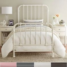Shop for Gulliver Vintage Antique Spiral Twin Iron Metal Bed by iNSPIRE Q Bold. Get free delivery at Overstock - Your Online Furniture Outlet Store! Get in rewards with Club O! Iron Twin Bed, Twin Xl Bed Frame, Twin Beds, White Iron Beds, White Metal Bed, Bedroom Furniture Stores, Furniture Deals, Furniture Outlet, Online Furniture