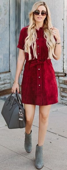 Burgundy Suede Shirtdress Fall Inspo by A Little Dash Of Darling