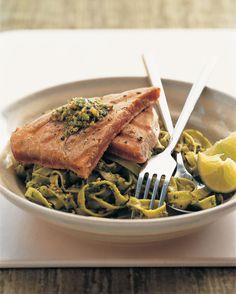 Tagliatelle with coriander pesto and tuna