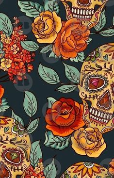 'Sugar Skull & Rose's Seamless Pattern' iPhone Case by Nick Balboni Wallpapers Mexico, Cute Wallpapers, Wallpaper Backgrounds, Trendy Wallpaper, Phone Wallpapers, Halloween Wallpaper Iphone, Halloween Backgrounds, Skull Wallpaper Iphone, Sugar Skull Wallpaper