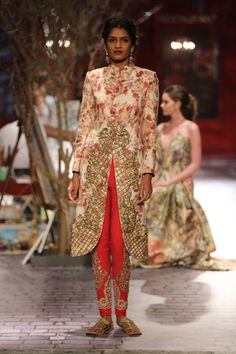 Monisha Jaising at India Couture Week 2014 - red cigarette pants with long jacket