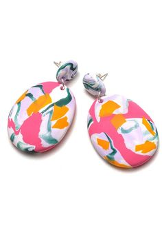 Lipstick and Lilac Ink Drop Earrings