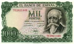 Spanish Mil Pesetas bill from the