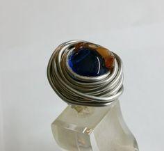 Aluminium mit dunkelblauem Glasnagget 17,6 AR172 von Atelier Regina auf DaWanda.com