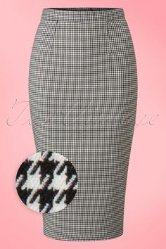Bunny - 50s Jackson Pencil Skirt in Black and White Houndstooth
