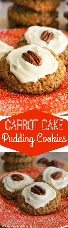 Carrot Cake Pudding Cookies - These carrot cake pudding cookies are simply delectable. They seem to appeal to more than just the carrot cake fans and my kids are perfectly capable of gobbling these cookies up in a matter of seconds! Carrot Cake Cookies, Pudding Cookies, Yummy Cookies, Cupcake Cookies, Cupcakes, Baking Cookies, Homemade Desserts, Cookie Desserts, Fun Desserts