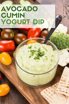 Looking for an alternative to your traditional dill veggie dip? Try this heart-healthy Avocado Cumin Yogurt Dip at your next potluck. #avocado #yogurt #dips #appetizers Make Ahead Appetizers, Bread Appetizers, Quick And Easy Appetizers, Easy Appetizer Recipes, Quick Snacks, Party Recipes, Best Party Food, Party Food And Drinks, Dill Veggie Dips