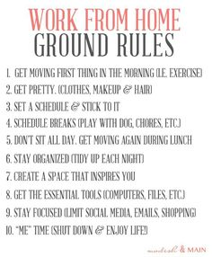 Work From Home Ground Rules