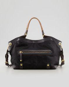 V1R48 Oryany Kelly Calf Hair Satchel Bag, Black