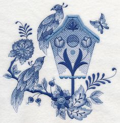 Blue Delft birdhouses full set (9) embroidered fabric quilt block square