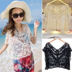 New Women Sexy Floral Lace Crochet Vest Sleeveless Tank Top Tunic Shirt Blouse #Unbranded #Blouse #Casual