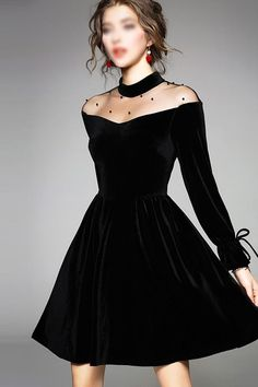 62af196cc1c576 Charming Black Round Neck Long Sleeves A Line Homecoming Dress M553