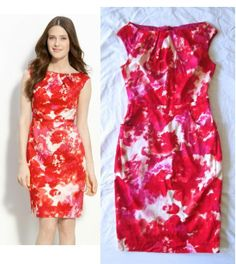 ADRIANNA PAPELL Red Pink Abstract Pleated Neck Shift Sheath Sleeveless Dress 2