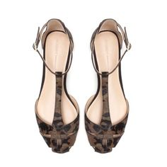 ZARA flat camouflage leopard leather sandals