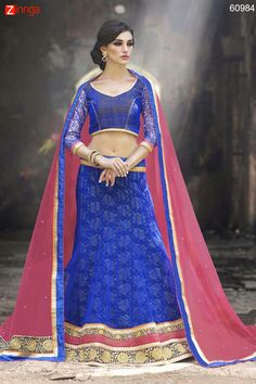 Women's Pretty Mermaid Cut Lehenga Style in Blue Color Message/call/WhatsApp at +91-9246261661 or Visit www.zinnga.com
