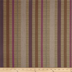 Sunbrella Outdoor Solano Stripe Dusk from @fabricdotcom  Colors include lavender, lilac, grey and light brown.