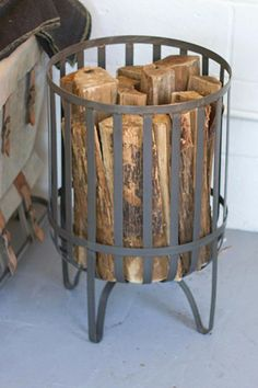 Industrial Modern Raw Metal Log Basket - All About Decoration