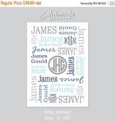 Boy Blanket Monogram Blanket Personalized Baby by ModernMixDesigns