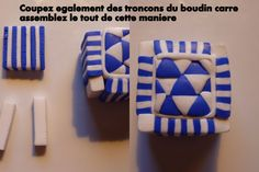 #Polymer #Clay #Canes                              Blue and White geometric ~ Polymer Clay Canes