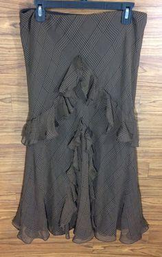 Lauren Ralph Lauren Skirt Size M 100% Silk Brown Plaid Ruffle Front Below Knee  #LaurenRalphLauren #Flared $13.99 + $3.03