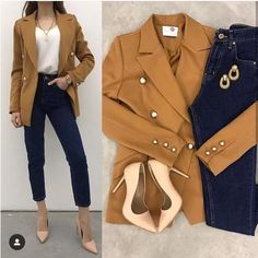 Mixing and matching combo outfits – Just Trendy Girls: Blazer Outfits Casual, Stylish Work Outfits, Business Casual Outfits, Professional Outfits, Cute Casual Outfits, Simple Outfits, Stylish Outfits, Semi Casual Outfit, Stylish Clothes