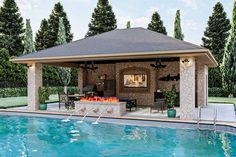 Backyard Pavilion, Backyard Pool Landscaping, Backyard Pool Designs, Small Backyard Pools, Swimming Pools Backyard, Small Pool Houses, Pool Gazebo, Swimming Pool Designs, Modern Pool House