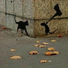 Tom & Jerry shadow version. Watched a documentary on Banksy. Art critics are snobs. Who are they to say what is art?