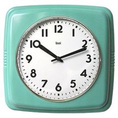 Cubist Wall Clock in Turquoise