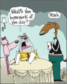 "An #upscale twist on the ""My #dog ate my #homework"" excuse | Read The Flying McCoys #comics @ http://www.gocomics.com/theflyingmccoys/2015/06/20?utm_source=pinterest&utm_medium=socialmarketing&utm_campaign=social-pin | #GoComics #webcomic #excuse #finedining #math"