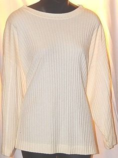 The Limited Ivory Ribbed Knit Long Sleeve Womens Top Size M #TheLimited #KnitTop #Casual