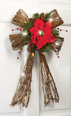 0357a38e8cd LED Holiday Poinsettia Country Door Wreath.  20. collections etc. Indoor  Christmas Decorations
