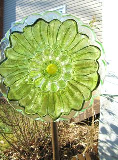 garden flower yard art flower plate upcycled by ADelicateTouch1