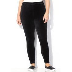 Avenue Plus Size Velour Legging ($40) ❤ liked on Polyvore featuring pants, leggings, black, plus size, womens plus pants, plus size pants, black trousers, plus size leggings and black pants