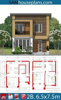 Desain Rumah Type 45 31 Narrow House Designs, Modern Exterior House Designs, Modern House Facades, Modern House Design, Beach House Plans, My House Plans, Garage House Plans, 1200 Sq Ft House, Type 45