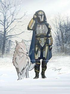 Winter 2009 by Daennika Star Wars Rpg, Star Wars Clone Wars, Mandalorian Cosplay, Star Wars Bounty Hunter, Star Wars Concept Art, Sci Fi Armor, Star Wars Images, Storm Comic, Fantasy Warrior