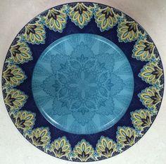 "222 Fifth Spice Kingdom Blue 10 75"" Dinner Plates Set of 4 New | eBay"