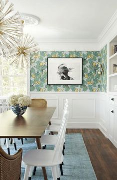Tour interior designer Michelle Gage's historic Philly home, now filled with small treasures, bold wallpaper, and tons of art. Dining Room Wallpaper, Dining Room Wainscoting, Dining Room Walls, Dining Room Design, Wall Paper Dining Room, Dining Room Paneling, Bold Wallpaper, Beautiful Wallpaper, Walnut Dining Table