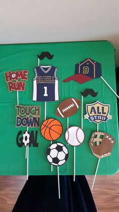 Personalized sports theme photo booth by sports birthday, birthday party themes, birthday Sports Themed Birthday Party, Baby Birthday, 10th Birthday, Birthday Cards, Birthday Parties, Sports Day Decoration, Theme Sport, Do It Yourself Baby, Basketball