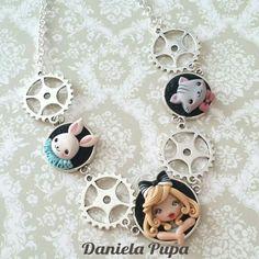 Steam punk Alice in Wonderland polymer clay necklace