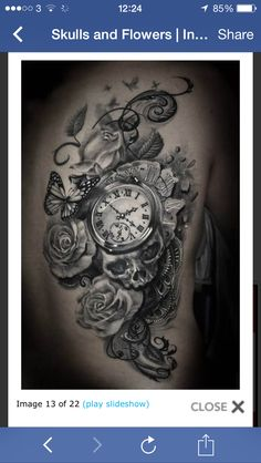Love this! Skull, roses and a pocket watch
