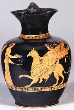 Pottery: red-figured oinochoe (shape with trefoil mouth. Arrival of the Hyperborean Apollo at Delphi. In the centre the Gryphon stands to left with wings and right forefoot slightly raised, as if. Ancient Greek Art, Ancient Greece, Artemis, Sphinx, Greek Pottery, Minoan, Mycenaean, Black Figure, Cleveland Museum Of Art