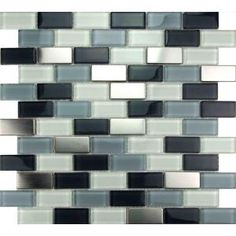 For white cabinets: Metal Mix Glass Mosaic 13.8 in. x 12.4 in. Tile, HS1438 at The Home Depot - Mobile