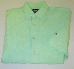 Men's ASHWORTH GOLF Casual Dress  Shirt Sz M - Green 100% Linen - DORAL GC - FL…