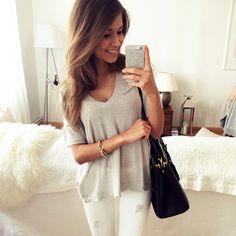 white denim  grey tee